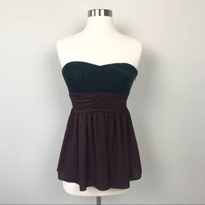 Anthropologie Maeve Blouse Top Maroon Strapless 2